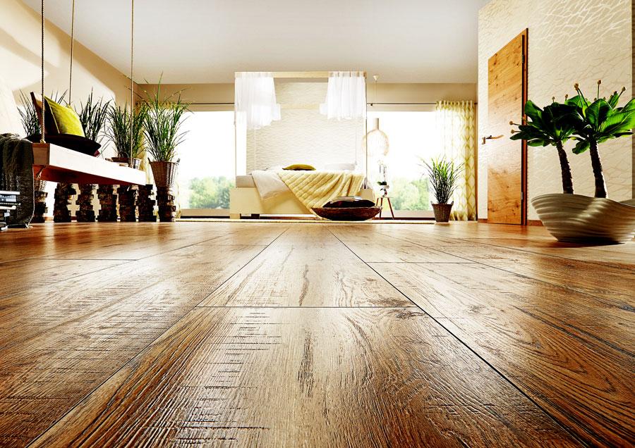 Schlafzimmer mit Designboden